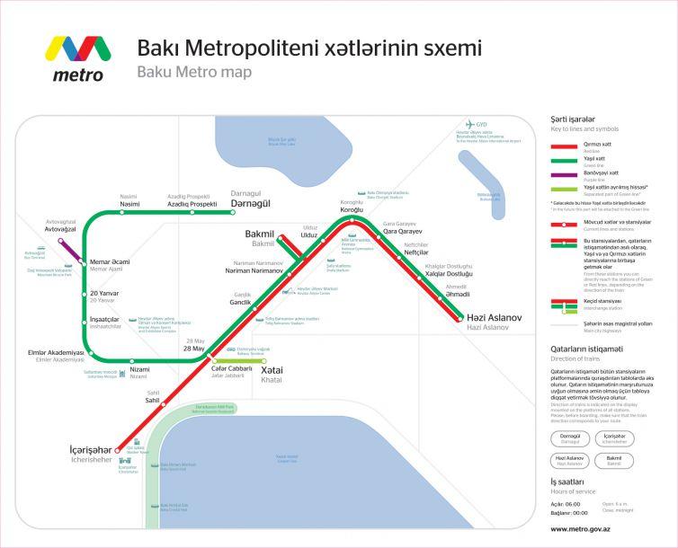 Map of metro stations in Baku